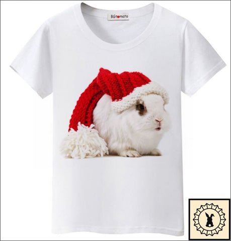 Funny Christmas Rabbit T-Shirt By Bgtomato© Small. / White.