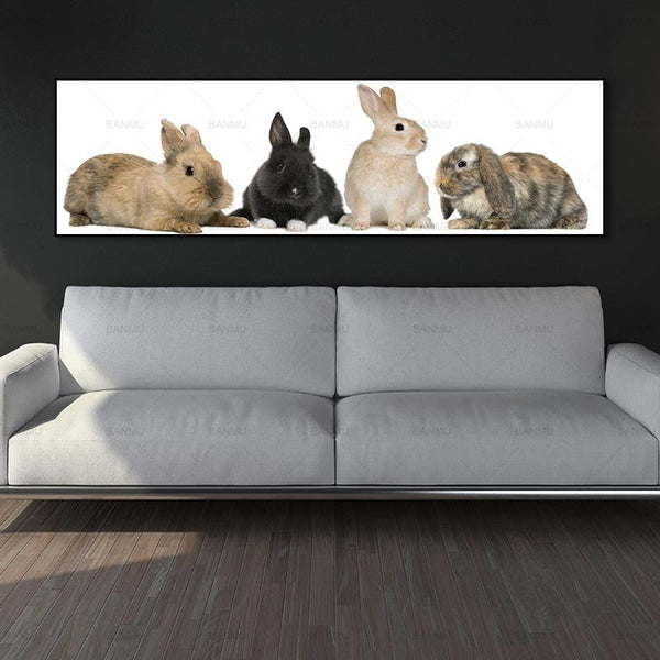 Rabbit family art print canvas