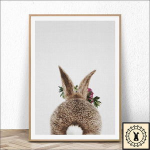 Rabbit Art Canvas. 5.9Inch X 7.9Inch / Back.