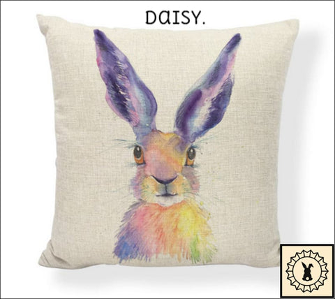 Rabbit Art Cushion Cover. Daisy.
