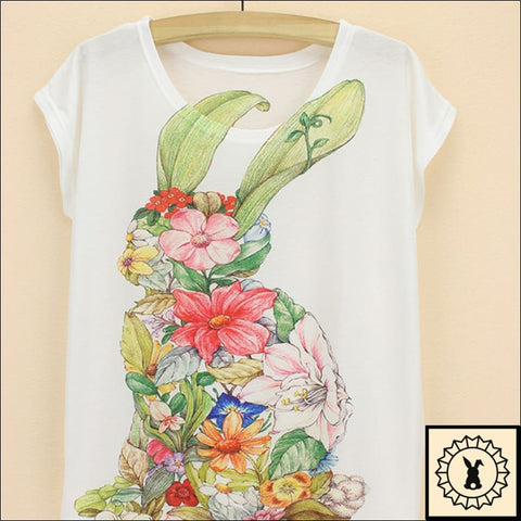 Rabbit In Flowers - T-Shirt.