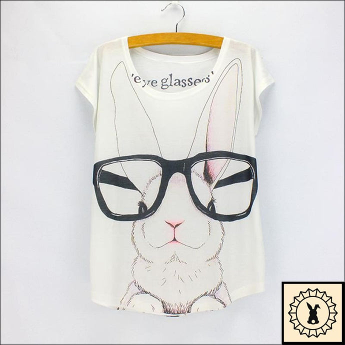 Rabbit In Glasses - T-Shirt. Medium