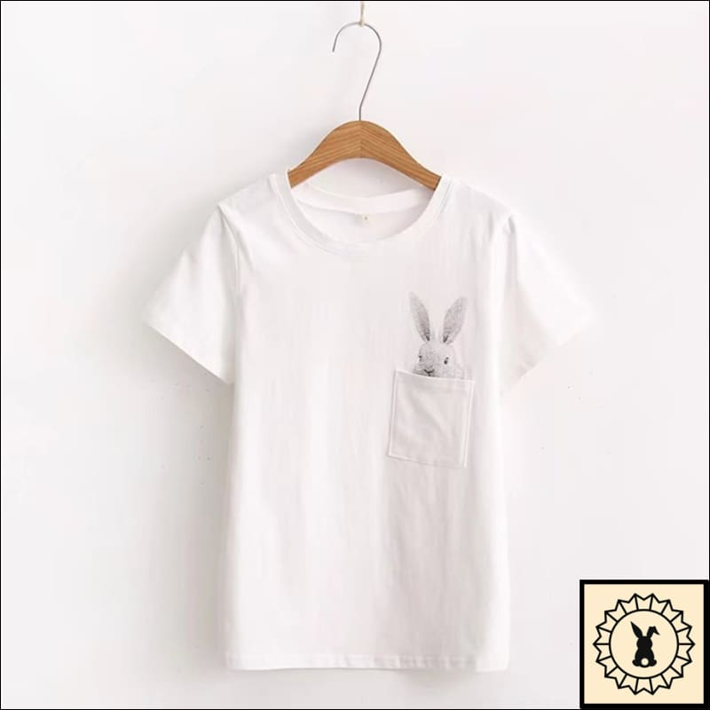 Rabbit In Pocket- T-Shirt. Pocket. (White) S