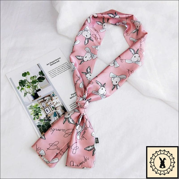 Rabbit Print Scarf By Bambi. Carnation (Pink)