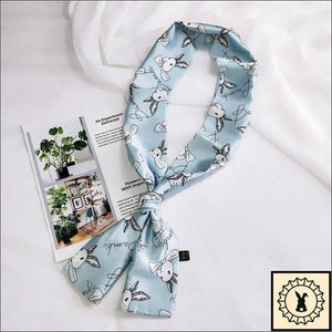 Rabbit Print Scarf By Bambi. Celeste (Blue)