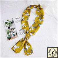 Rabbit Print Scarf By Bambi. Mustard (Gold)