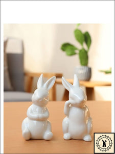 Rabbit Relaxing - Ceramic Figurine Set Of Two.