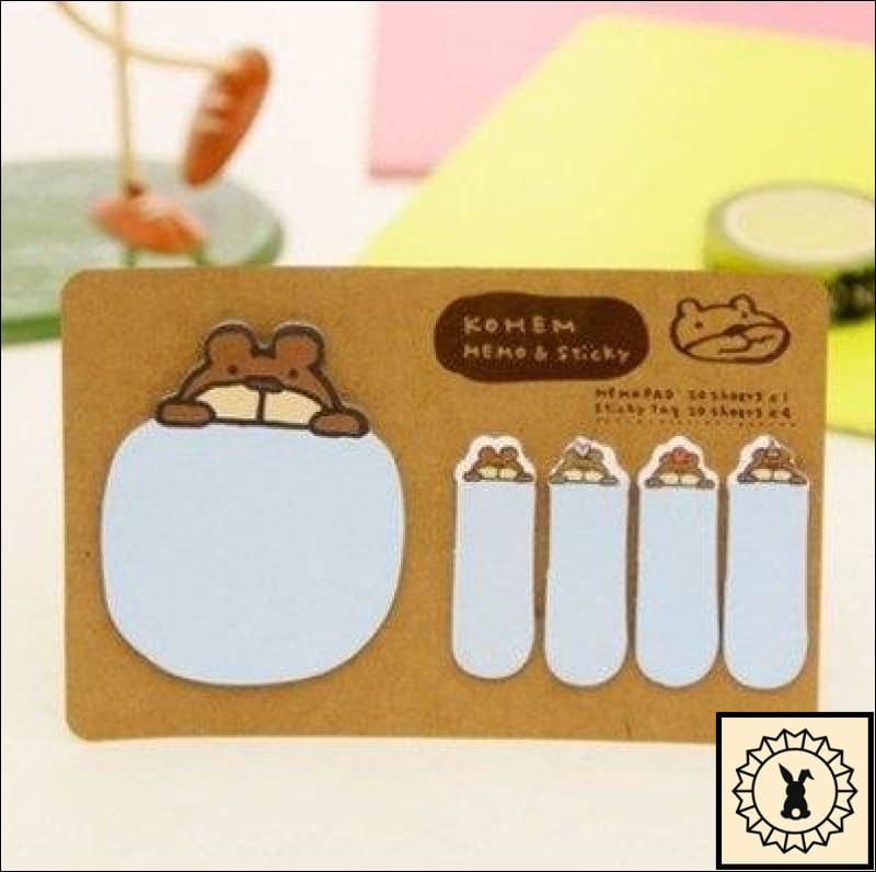 Sticky Memo Notes Blue Bear