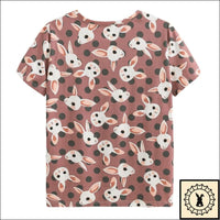 Stylish Rabbit Print T-Shirts. - Brioges© Small. / Brown.