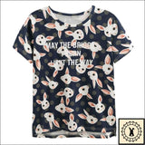 Stylish Rabbit Print T-Shirts. - Brioges© Small. / Dark Blue.