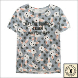 Stylish Rabbit Print T-Shirts. - Brioges© Small. / Light Blue.