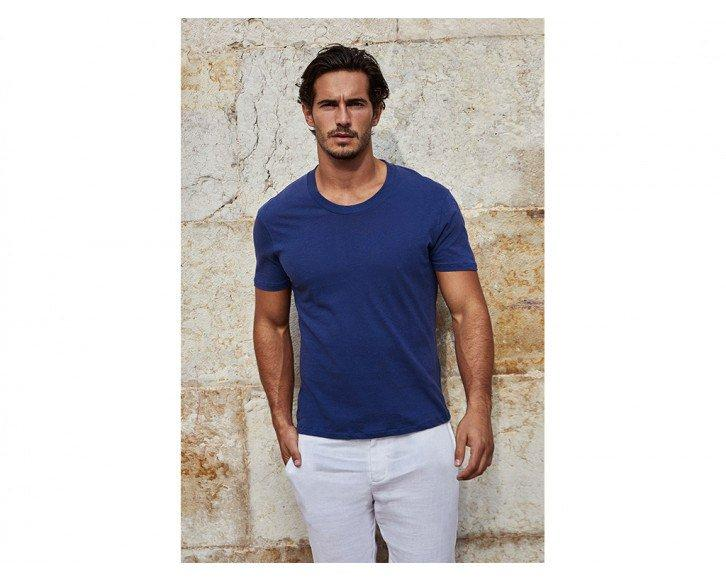 Attractive man wearing a Mens Cotton Linen T Shirt in Navy Blue