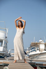 Long Linen Dress Fray Natural