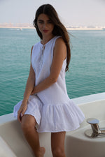 Roma Linen Short Dress White
