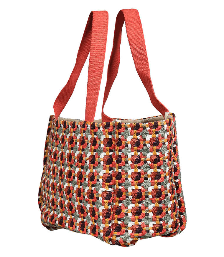 Red Multi Tote Beach Bag