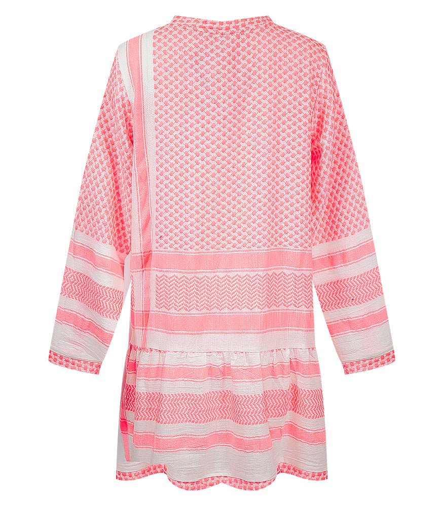 Dress 2, O, Long Sleeves Neon Pink