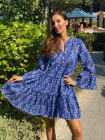 Flared Sleeve Dress in Small Flower Block Print in Blue