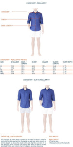size guide for regular fit mens linen long sleeve shirt in light pink
