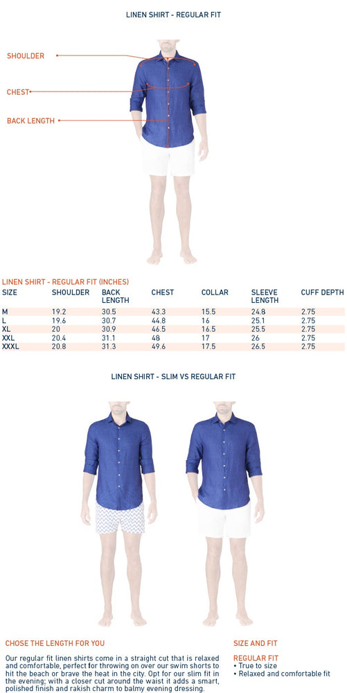 size guide for mens white linen beach shirt regular fit