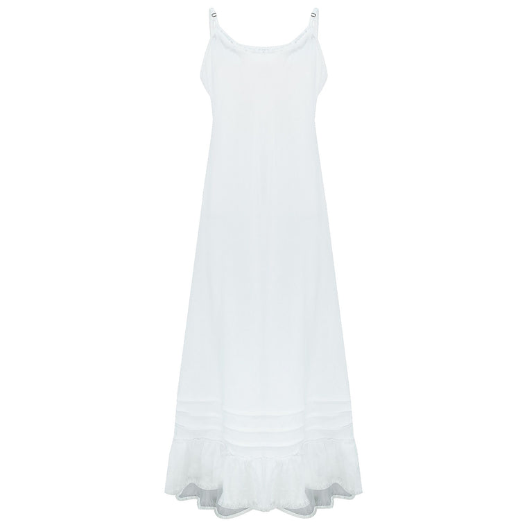 Long Linen Dress Fray White