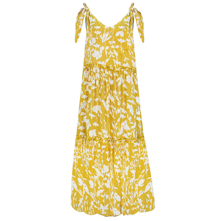 Lucy Long Dress Yellow Flower