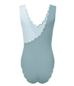 asymmetric swimsuit in light blue