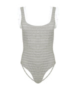 Designer White Ruffle Swimsuit in Brick Print