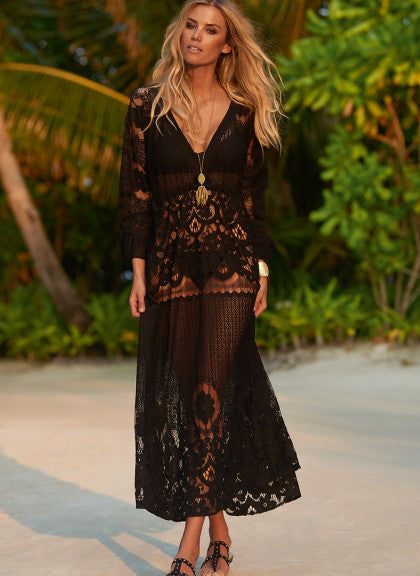 Sexy Black Lace Beach Cover Up Dress