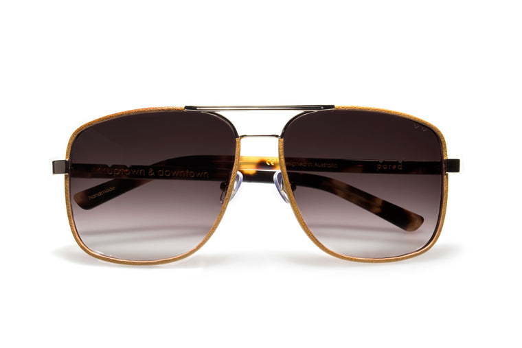 Pared Uptown & Downtown Gold Wrapped With Tan Leather Sunglasses