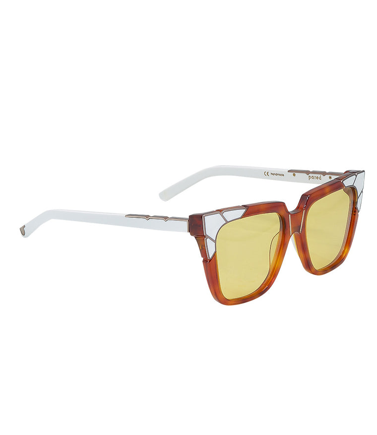 Pared Eyewear Oversized Cat Eye Sunglasses in Gold & White