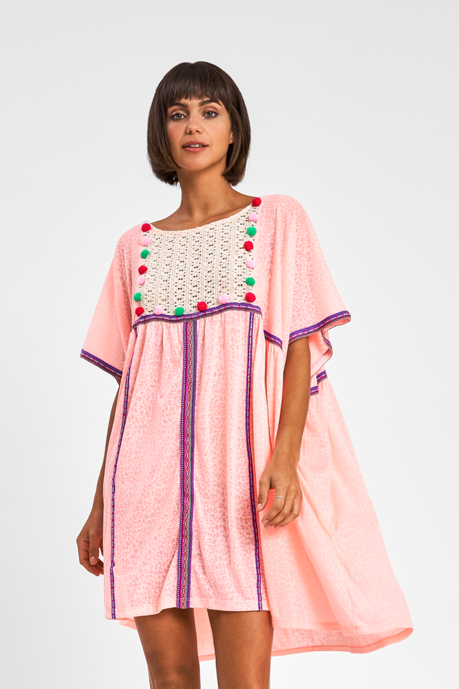 Pink Beach Dress With Pom Poms | Sand Dollar UK