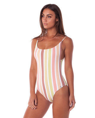 beautiful woman wearing Pastel One Piece Swimsuit in Rainbow