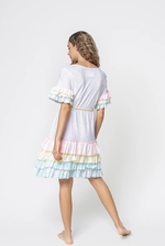 Ruffle Sleeve T-Shirt Dress White