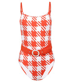 Nina Belted One Piece Lipstick Gingham