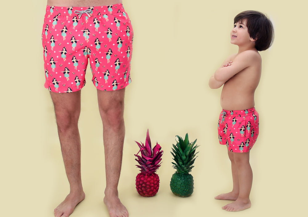 Pink swimming costume for boys | Sand Dollar UK