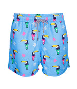 Mens Printed Swim Shorts in Blue Toucan