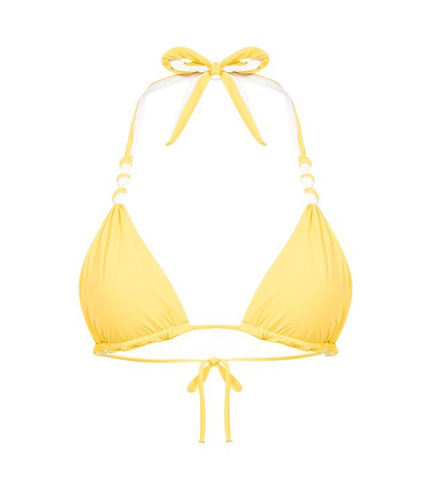 Solid Double Face Knot Bikini Top Yellow