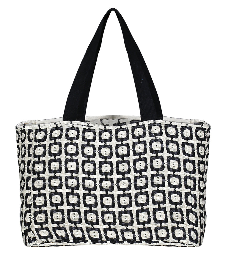 Black Dog Tooth Beach Bag
