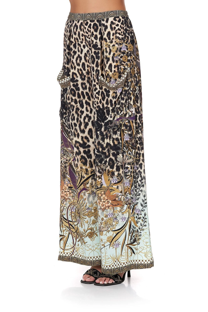 wide leg leopard print trousers