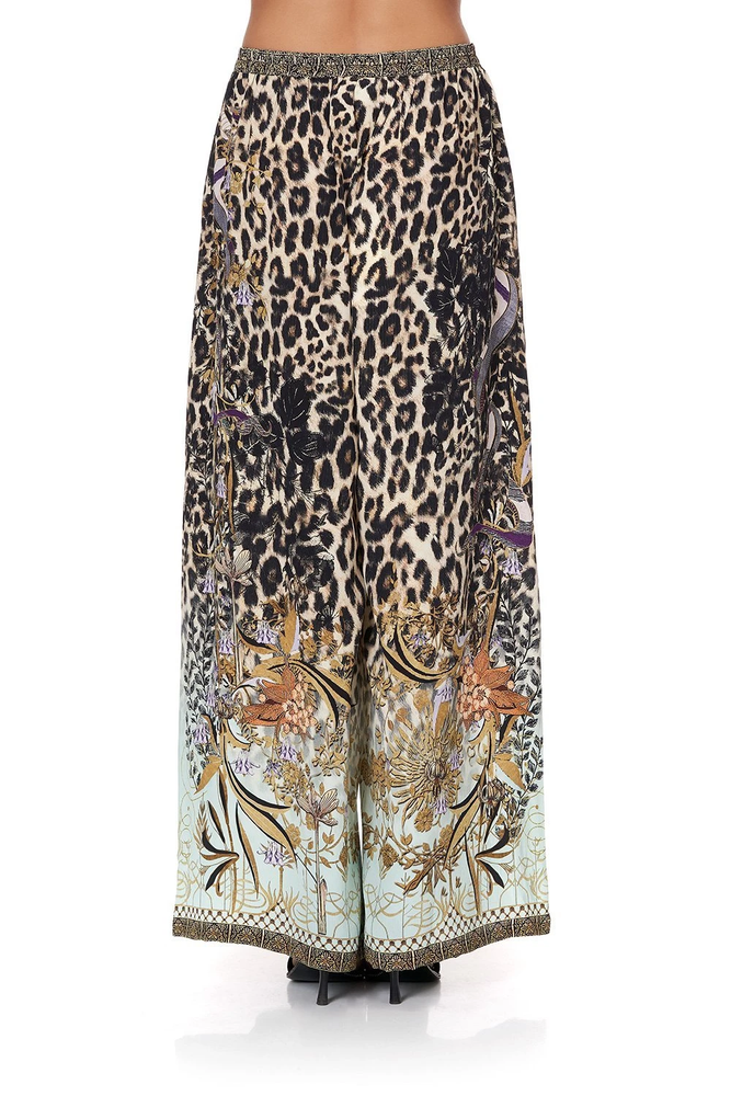 shop leopard print wide leg trousers
