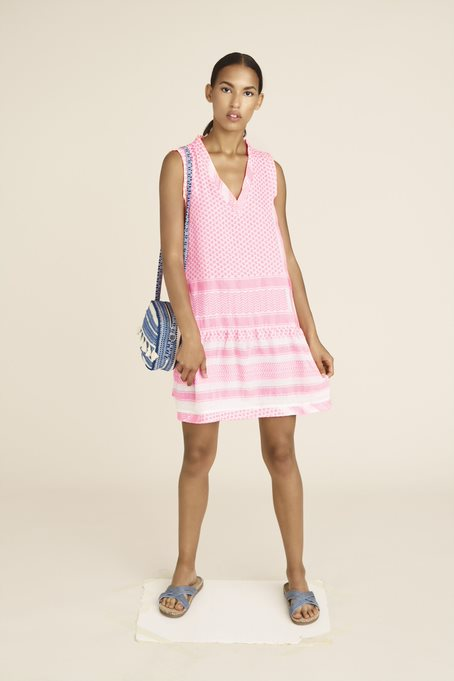 Dress 2, V, No Sleeves Neon Pink