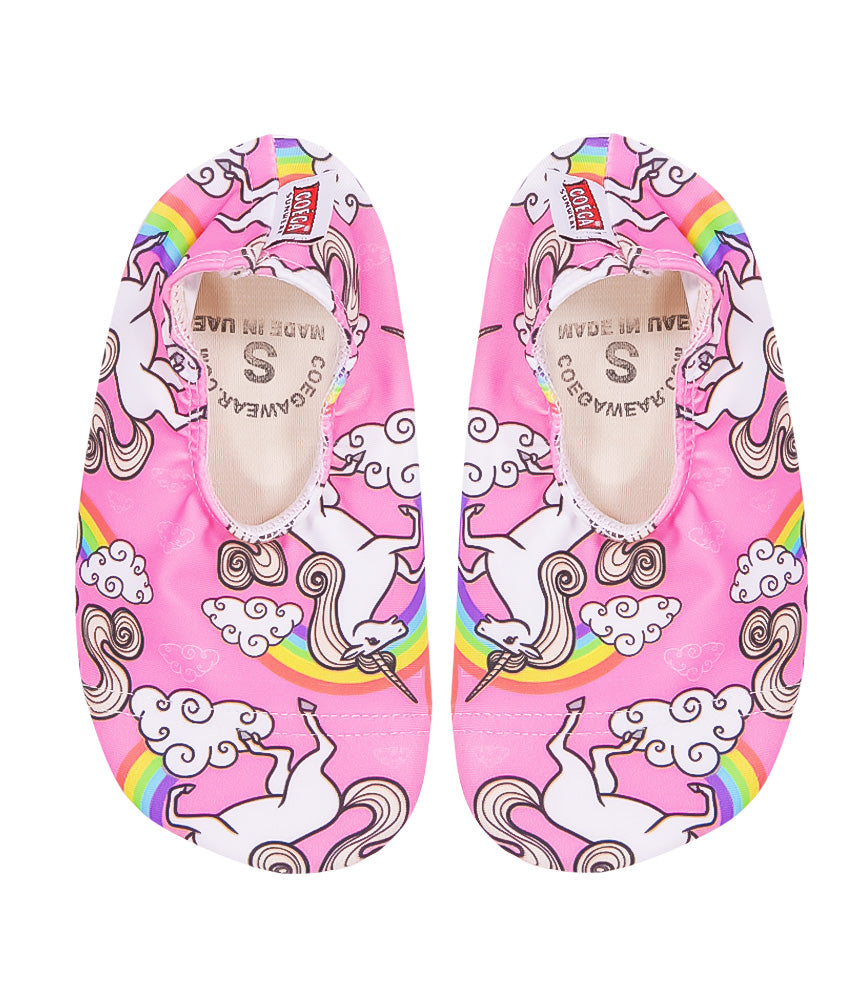 adorable Kids Swim Shoes in Pink Unicorn Print