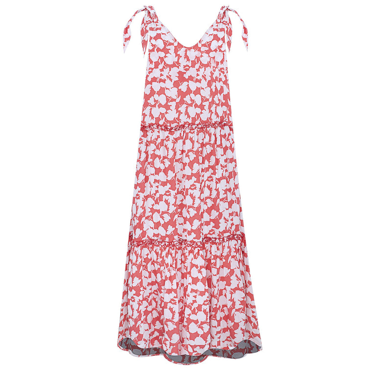 Lucy Coral Flower Long Dress