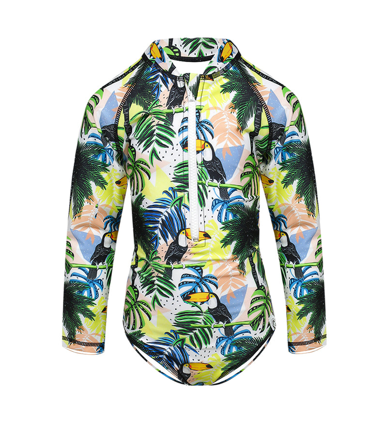 Kids Long Sleeve Rashie in Tropical Print