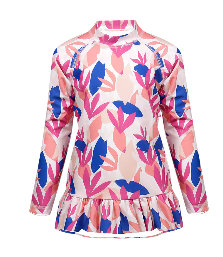 Girls Rash Guard with Pink Frill