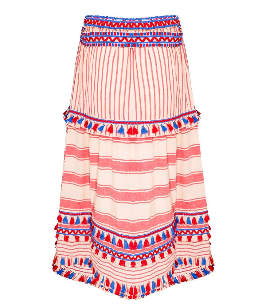 boho chic style skirt | boho summer skirt in red and blue