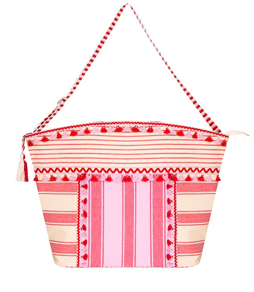 linen beach bag in pink and red