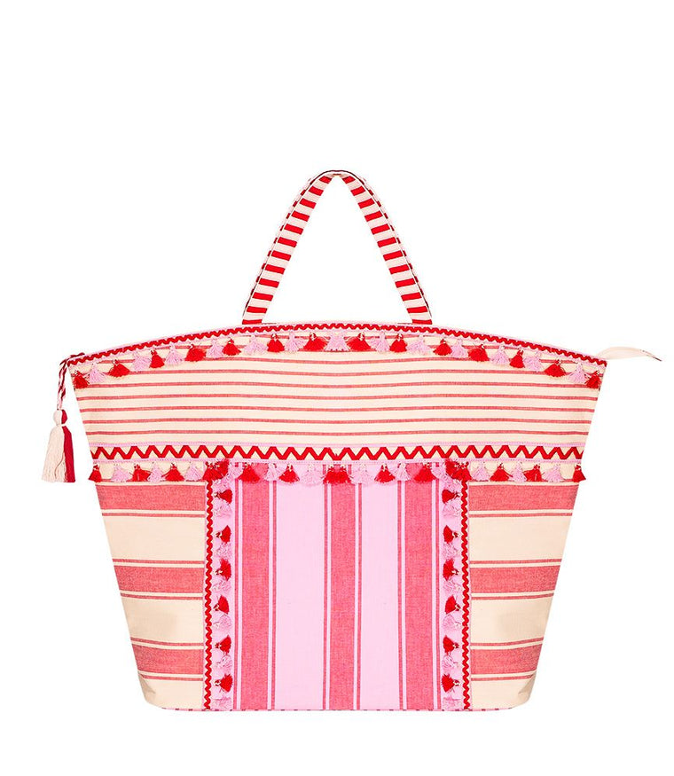 Dodo Bar Or Pink Linen Beach Bag