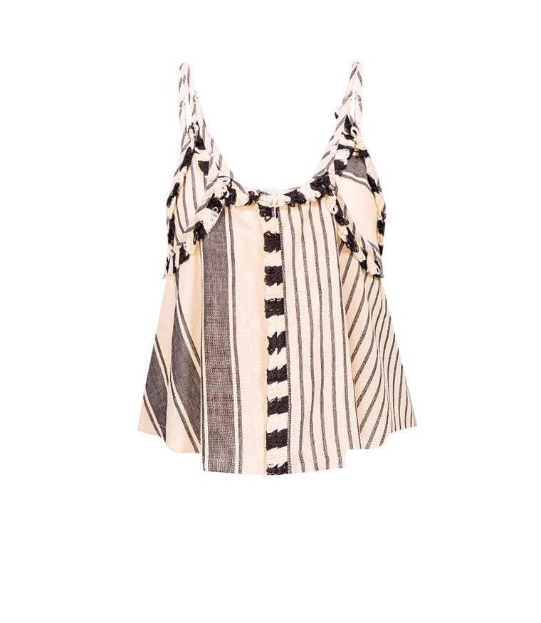 summer cami top in black and white