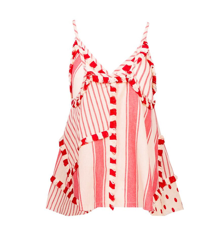 100% cotton spaghetti strap tank top in red